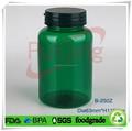 الأخضر الداكن 250ml حبوب منع الحمل البلاستيكية، أقراص، كبسولات، pet زجاجة الدواء مع اللون الأخضر الداكن الطفل غطاء والدليل على العبث
