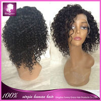 Short Brazilian human hair kinky curly wig afro kinky full lace wig with side parting baby hair bleached knots around in stock