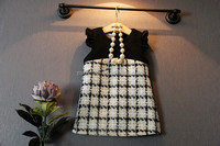 S30133W FROCK DESIGN FOR BABY GIRLS CUTE FLYING SLEEVE GRIDS THICKEN VEST DRESS