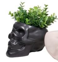 Skull shape indoor pot ceramic glazed pottery planter planters