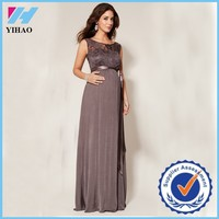 Yihao 2015 New Women Lace Sexy V-back Maternity Pregnant Evening Maxi Dress