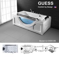 Foshan factory pirce sex glass massage bathtub/Big size hot tub with armrest Q-D400106