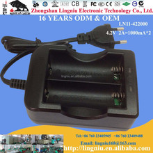 Euro plug factory wholesale 4.2V 2A two slot portable li-ion battery charger for 26650 18650 16650
