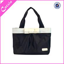 popular nylon foldable shopping bag, black shopping bag with bow