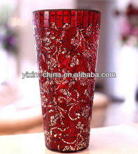 Passionate Red Rose Mosaic Vase for Home Decoration