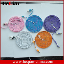 Colorful Braided Woven Fabric 6 feet Flat Rope Micro USB Cable for HTC, Samsung