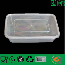 500ml Transparent pp Disposable clear plastic lunch box
