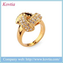 2015 high quality 24k yellow gold crystal finger rings 10kt gold female ring jewelry