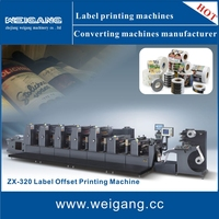 ZX-320 weigang roll feeding 5color sticker label offset printing machine/offset printer /offset press sticker printing