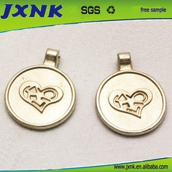 Round heart type metal zipper slider for luggage bags accessories