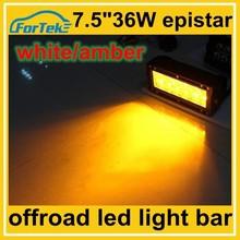 7.5 inch epistar 36w white/amber led light bar