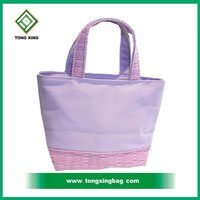 100% Recycle Beautiful Fashion Promotional Cotton Canvas Wemen's Tote Bag with leather wholesale