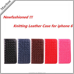 Hot Sale Fashion Hand -knitting Leather Stand Wallet Case For Iphone 6