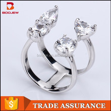pesonailty two rings one finger women silver adjustable ring china manufactory factory price