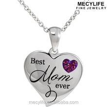 "MECY LIFE Connections from Hallmark Stainless Steel ""Best mom ever"" Purple Crystal Pendant"