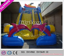Wonderful smart dolphin character big inflatable slide with EN14960/slide for kids