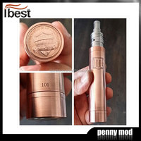 IBEST 2014 Hot Wholesale High Quality Electronic Cigarette Mechanical mod Red Copper Penny Mod Electrical With Battery