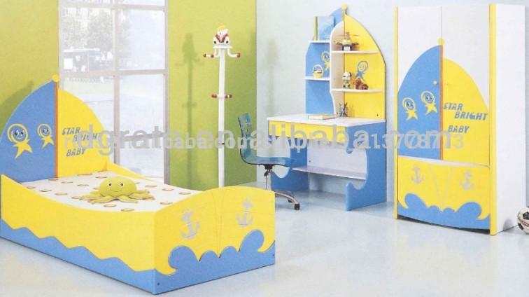 2014 звезды яркие красочные детей лодки кровати дизайн для детей в e1 мдф и красочные картины