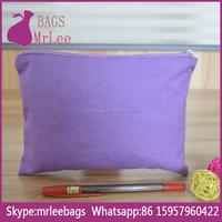 Custom Lavender promotional cotton zipper bag,cotton zipper travel bag