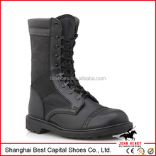 Tactical and black leather military combat boots
