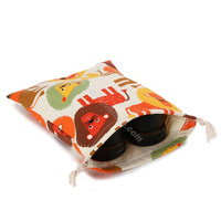 100% Cotton Fabric Full Color Printed Drawstring Shoe Bags