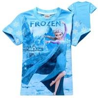 factory 2015 new fashion girl frozen short tshirts for 2-8 years girls tshirt mixed patterns wholesale frozen kids t shirt