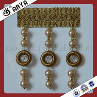 Pearl Beads Curtain lace trim fringe tassel ,used for drapes,cushions, curtain and accessories