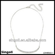 China wholesale clear crystal pendant necklace pave bead crystal bar silver simple everyday jewelry indian wedding accessories