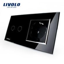 Livolo Touch Switch, Black Crystal Glass Panel, AC 110~250V EU Standard Wall Socket , VL-C702-12 / VL-C7C1EU-12
