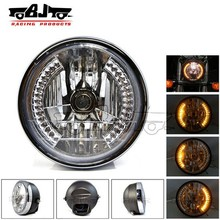 BJ-HL-007 Custom manufacture off road 35W black amber 28 LED headlight for motorcycle