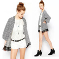 de manga larga de estilo europeo blusa de gasa mujeres geométrica kimono de otoño chaqueta chaqueta verano finas 2014 sv005702