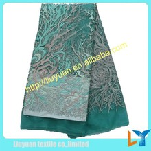 Teal Dubai style lace fabric for sale /beautiful skirt lace fabric/Swiss dress tulle lace for wedding women