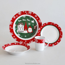 16pcs Christmas Dinner Sets, Porcelain With Decal