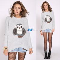 New New Women Bat Sleeve Round Neck Owl Pattern Loose Sweater Casual Knit Wear Jumper