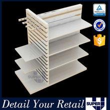 Gondola display shelving free standing metal frame wooden shelves