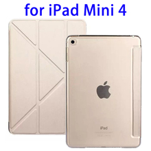 OEM Logo Branding 3 Folding Flip Leather Flip Cover for iPad Mini 4 Case