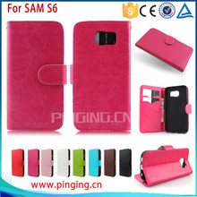Factory Price Flip Leather Case For Samsung Galaxy S6, For Samsung Galaxy S6 Cover, For Samsung Galaxy S6 Case