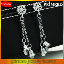 Fashion Jewelry Christmas Silver Plated Bell snowflake Eardrop Piercing Drop Earrings for Women
