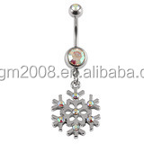 Christams Festival snowflake Crystal AB Navel Belly Ring Dangle Body Piercing jewelry