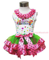 Easter Happy Birthday Balloon Rainbow Top Green Pink Dot Satin Trim Skirt NB-8Y