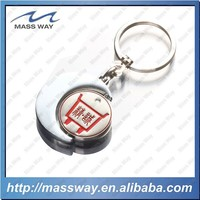 promotional custom shopping car color filled engraved 3D metal keychain