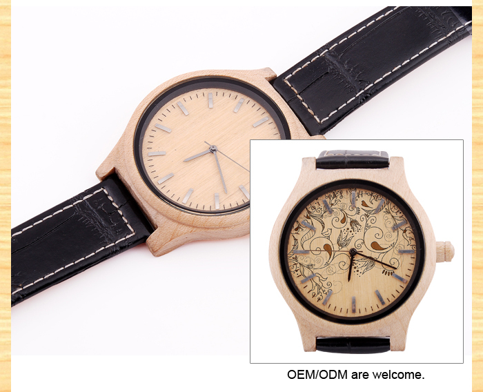 New custom leather wholesale wood watch/lady vogue watch/watch women