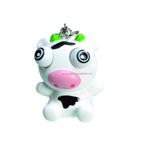 cute platic cow shape toys with key chain