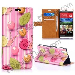 Cute Snails Pattern Wallet Style Magnetic Flip Stand PC+ PU Leather Case for HTC Desire Eye