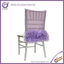 D147 fancy wedding decoration purple organza wholesale chair sash