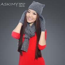 fashion knitted beanie winter hat scarf glove