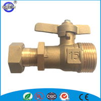15mm brass ball valve for water meter swivel nut for PE pipe