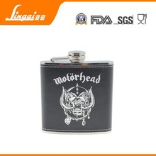 Hot sale FDA 6 oz stainless steel 2015 mini alcohol factory from china logo engraved gift box fashion skull hip flask