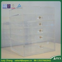Hot Sell Low Price Counter top Clear Acrylic Makeup Organizer With Drawer,Transparent Acrylic Makeup Organizer Display Stand