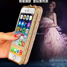 Luxury Crystal Rhinestone Bumper Frame For iPhone 6 Diamond Gold Slim Shining Bling Metal Case Covers For iPhone6 plus